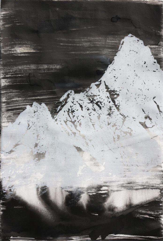 Schreckhorn V, 2015, 42 x 60 cm, Holzschnitt und Malerei