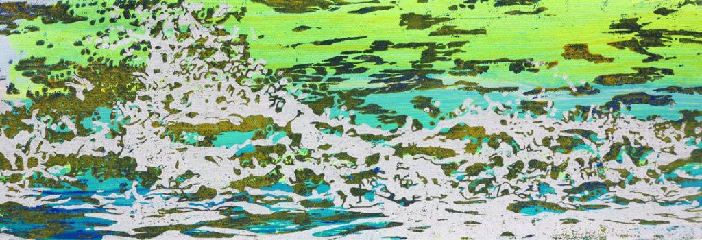 Welle I, 2016, 42 x 15 cm, Holzschnitt und Malerei