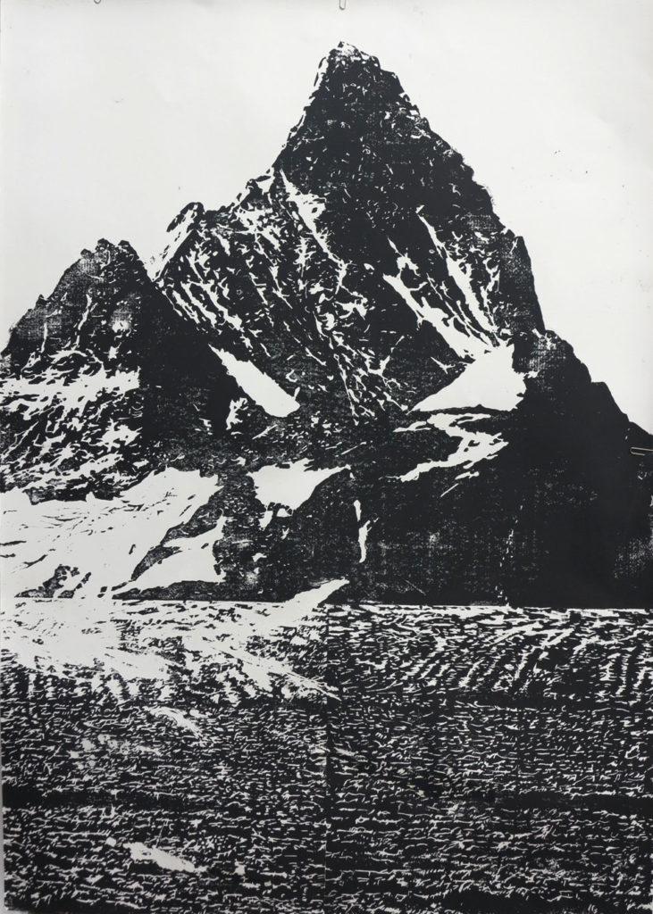 Schreckhorn I 2014, 56 x 80, Holzschnitt,