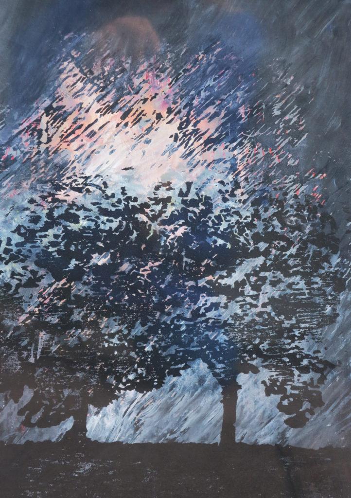 Bäume IV, 2016, 21 x 30 cm, Holzschnitt und Malerei