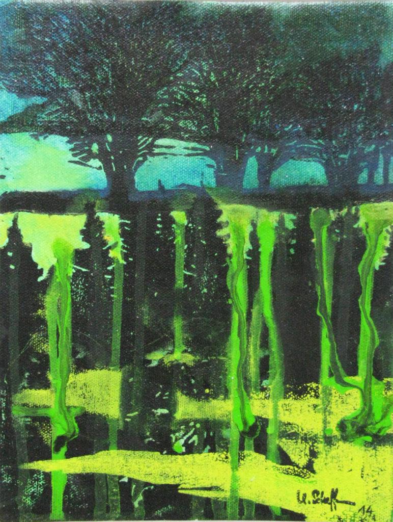 Bäume III, 2014, 21 x 30 cm, Holzschnitt und Malerei