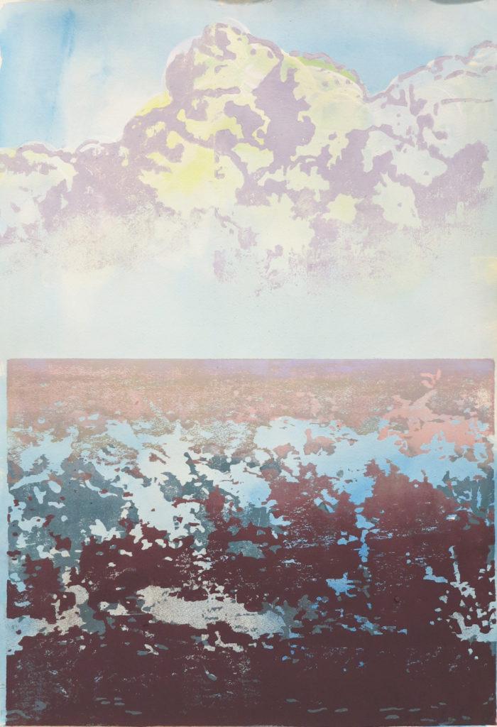 Horizont III, 2018, 42 x 60 cm, Holzschnitt und Malerei, Drucksymposium Essenheim