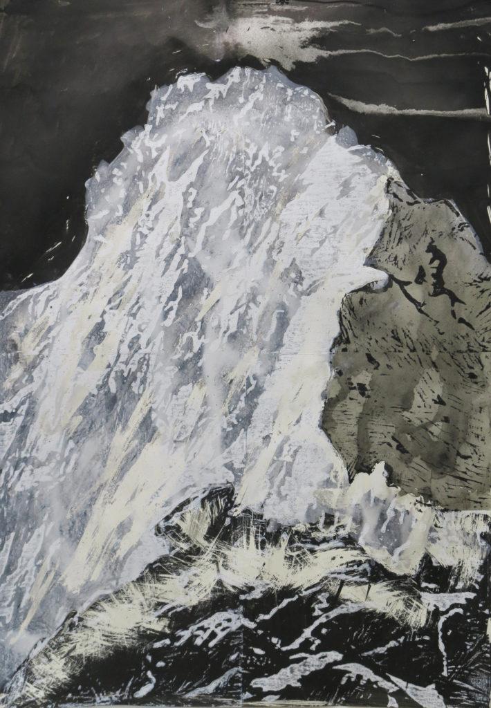 Grat II, Holzschnitt, 2014, 56 x 80 cm