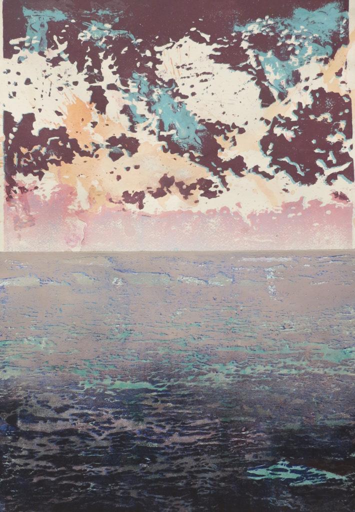 Horizont I, 2018, 42 x 60 cm, Holzschnitt und Malerei, Drucksymposium Essenheim