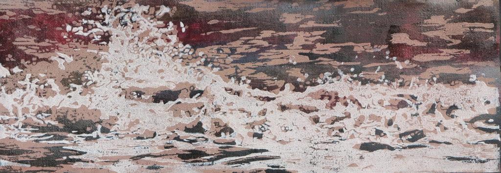 Welle IV, 2016, 42 x 15 cm, Holzschnitt und Malerei