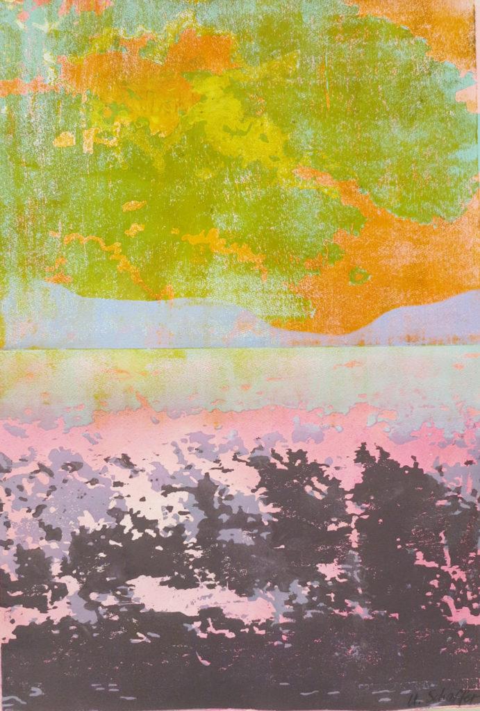 Horizont II, 2018, 42 x 60 cm, Holzschnitt und Malerei, Drucksymposium Essenheim