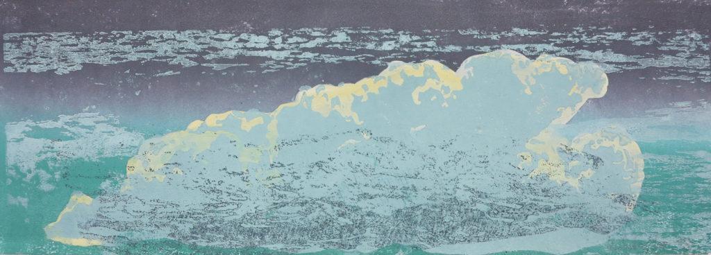 Wolke III, 2019, 42 x 15 cm, Holzschnitt und Malerei