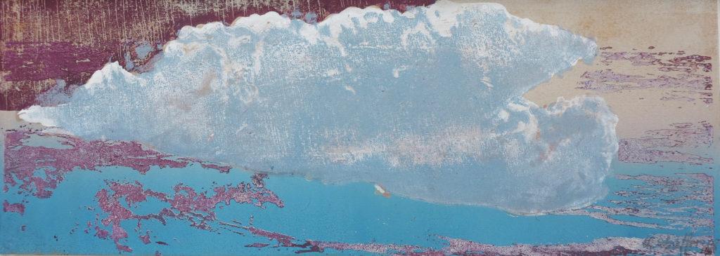 Wolke IV, 2019, 42 x 15 cm, Holzschnitt und Malerei