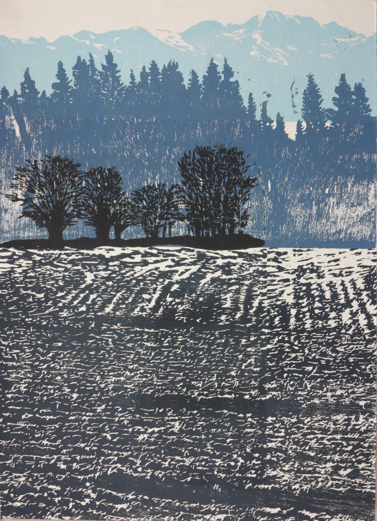 Kompositlandschaft I, 2018, 42 x 60 cm, Holzschnitt (manuell)/ Lasertechnik