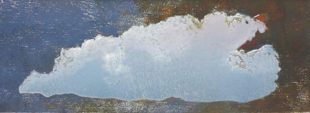 Wolke I, 2019, 42 x 15 cm, Holzschnitt und Malerei