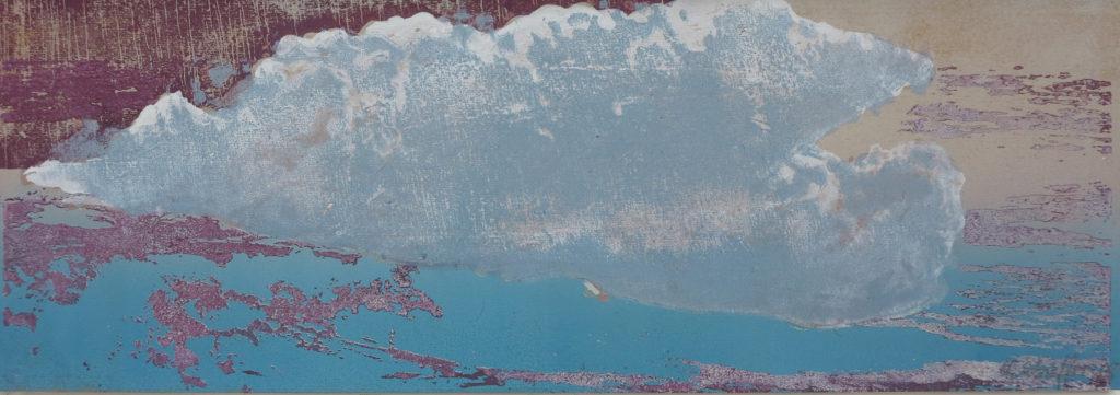 Wolke II, 2019, 42 x 15 cm, Holzschnitt und Malerei