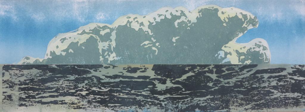Wolke VI, 2019, 42 x 15 cm, Holzschnitt und Malerei