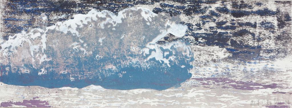 Wolke V, 2019, 42 x 15 cm, Holzschnitt und Malerei