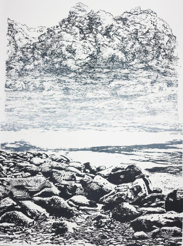 Kompositlandschaft II, 2018, 42 x 60 cm, Holzschnitt (manuell)/ Lasertechnik