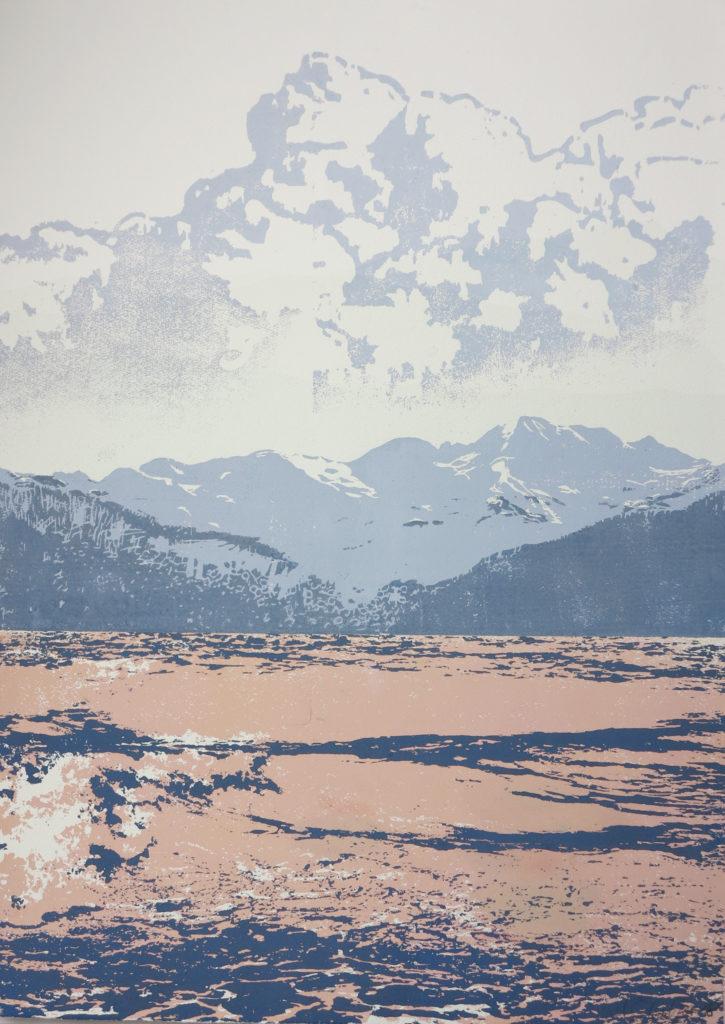 Kompositlandschaft IV 2018, 42 x 60 cm, Holzschnitt (manuell)/ Lasertechnik,