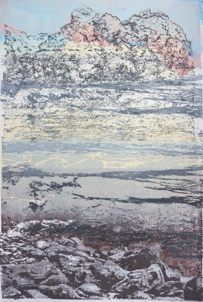 Kompositlandschaft III, 2018, 42 x 60 cm, Holzschnitt (manuell)/ Lasertechnik,