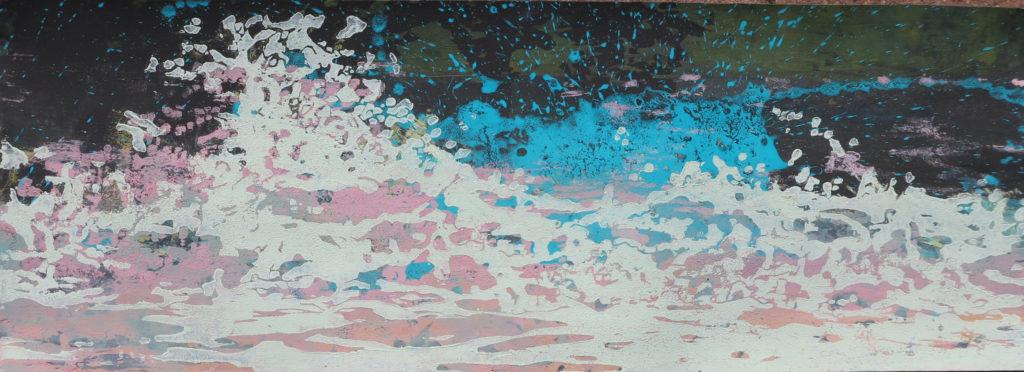 Welle V, 2016, 42 x 15 cm, Holzschnitt und Malerei