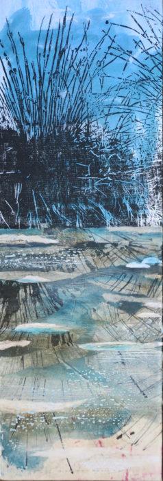 Sumpf II, 2020, 21 x 63 cm, Holzschnitt + Mischtechnik