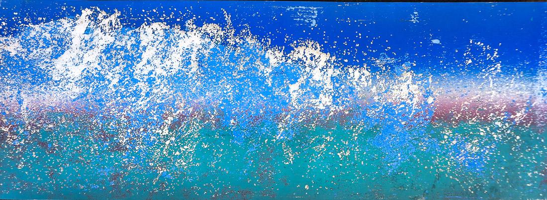 Gischt IV, 2020, 42x15 cm, Holzschnitt und Malerei