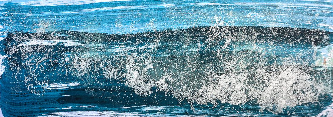 Gischt I, 2020, 42x15 cm, Holzschnitt und Malerei