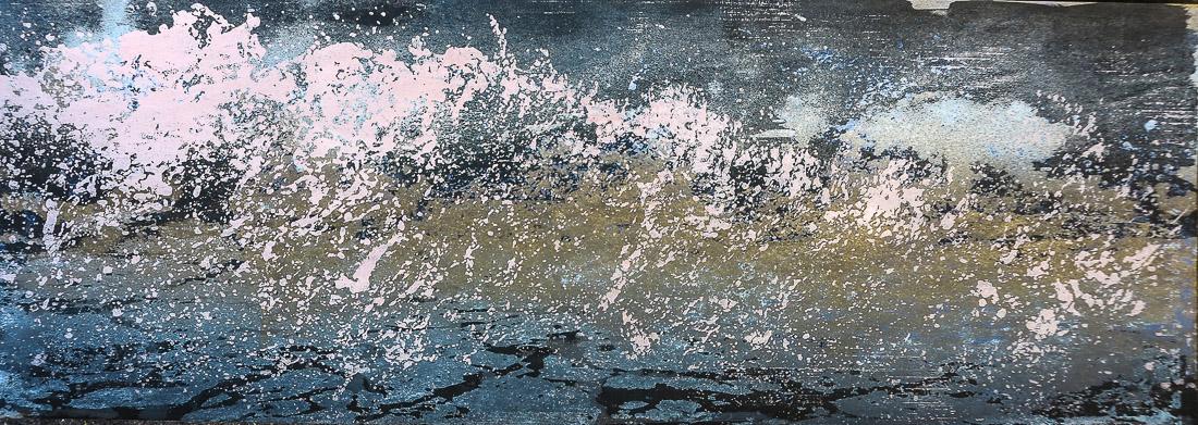 Gischt VII, 2020, 42x15 cm, Holzschnitt und Malerei