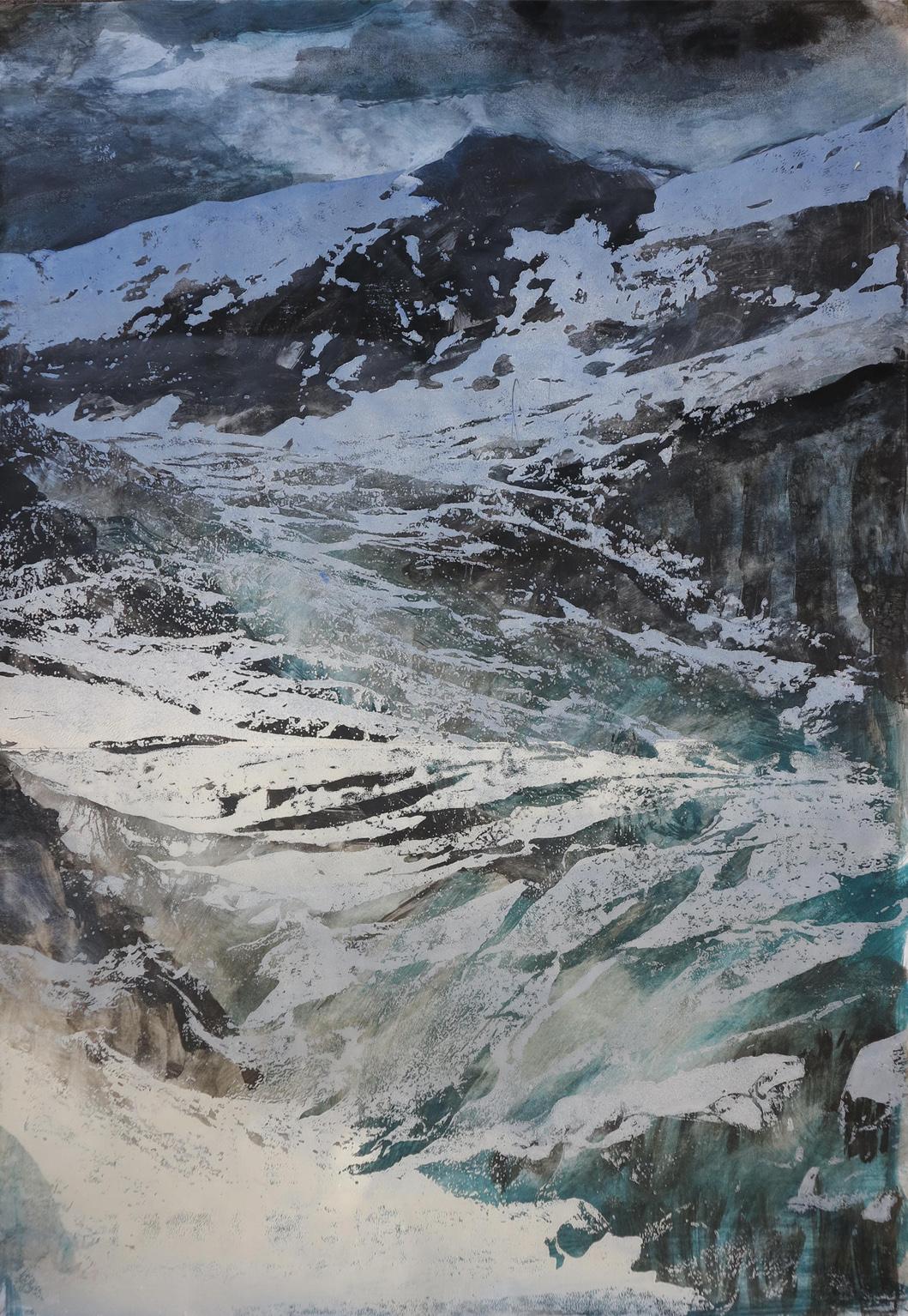 Gletscher II, 2020, 42x60 cm, Holzschnitt / Lasertechnik und Malerei