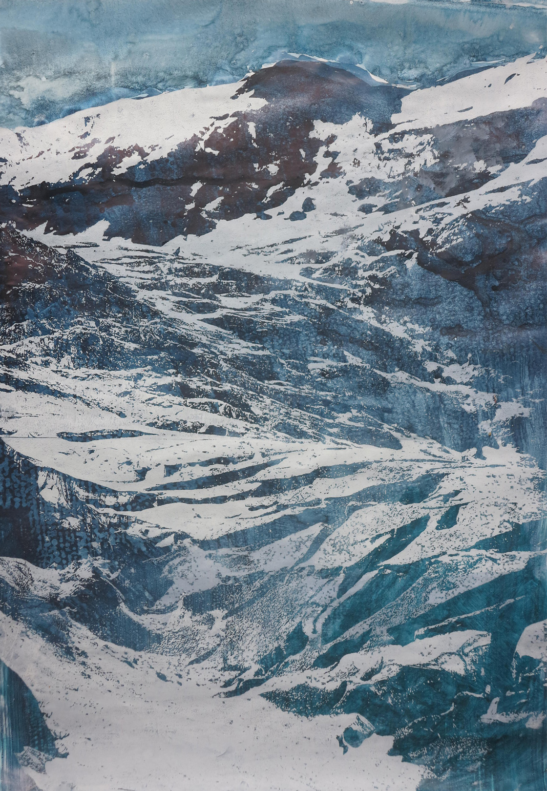 Gletscher III, 2020, 42x60 cm, Holzschnitt / Lasertechnik und Malerei