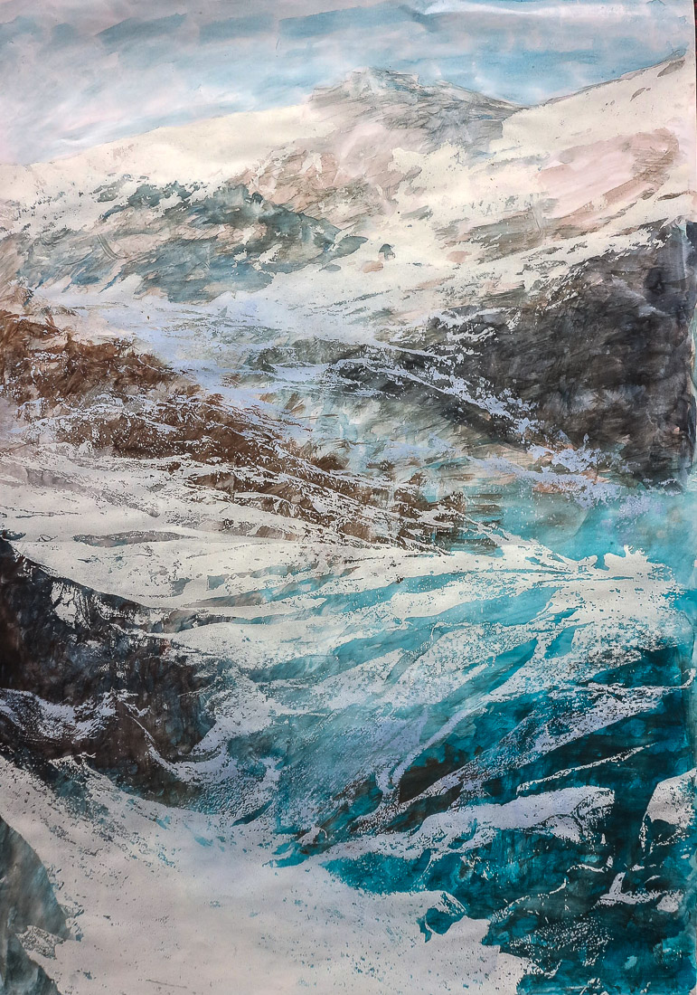 Gletscher I, 2020, 42x60cm, Holzschnitt / Lasertechnik und Malerei