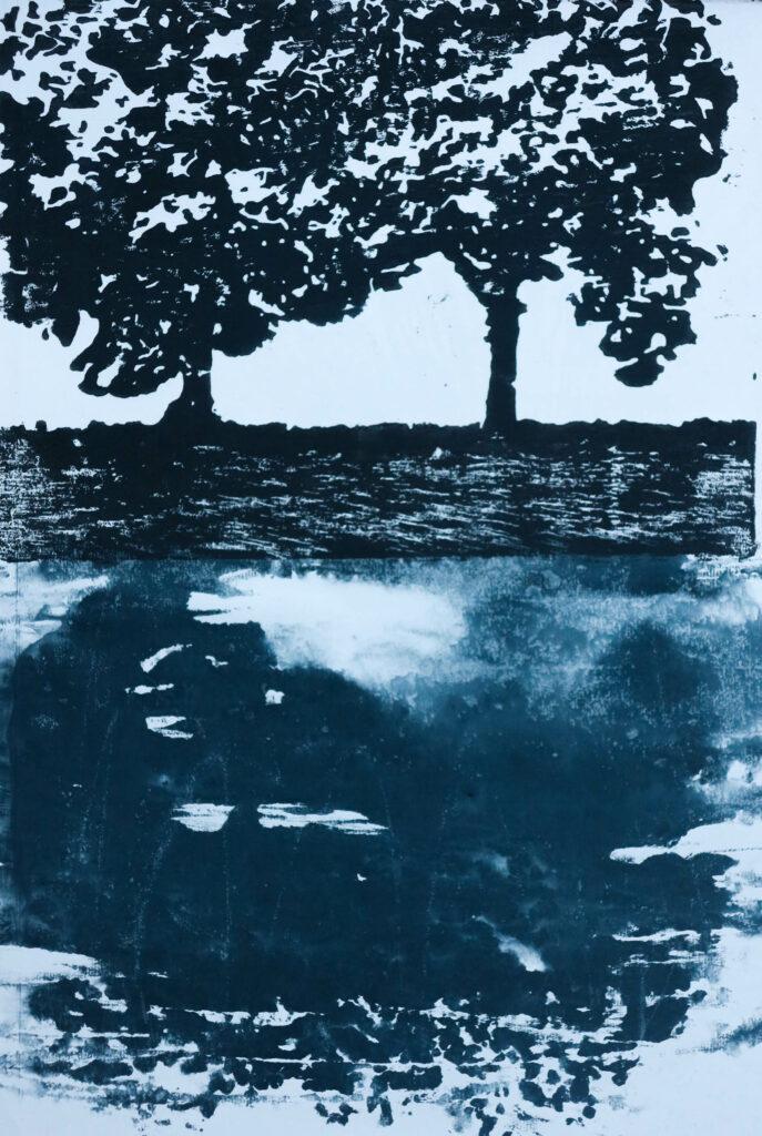 Bäume V, 2019,  30 x 50 cm, Holzschnitt und Aquarell