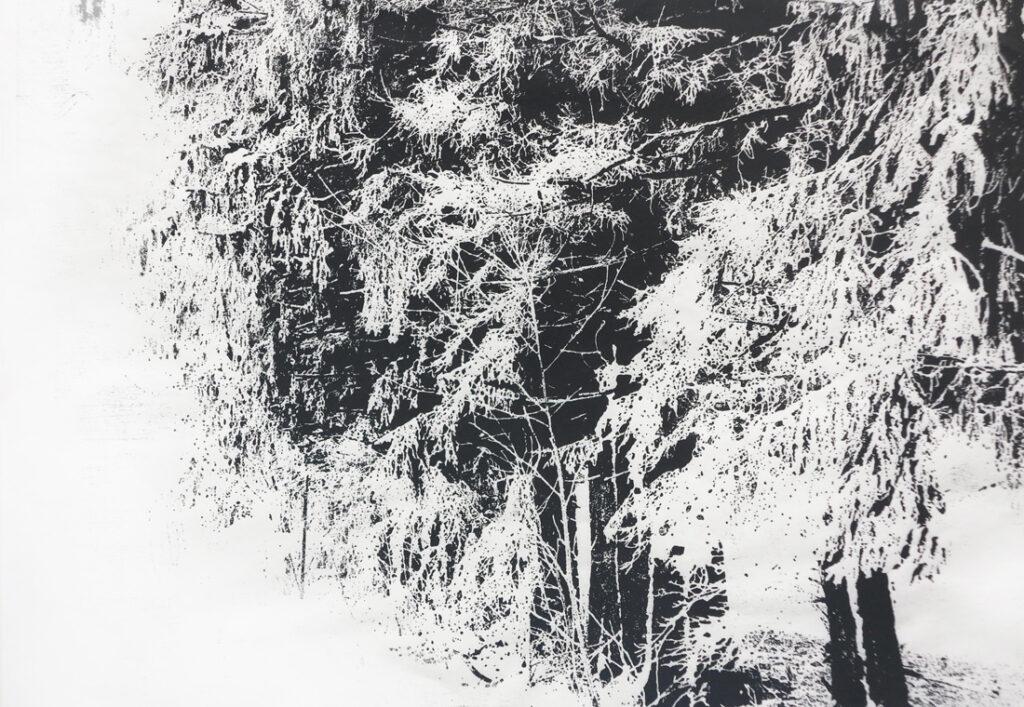 Raureif I, 2020, 42 x 30, Holzschnitt