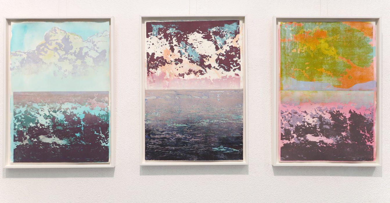 Horizont I, II, III, 2018, 42 x 60 cm, Holzschnitt und Malerei, Drucksymposium Essenheim