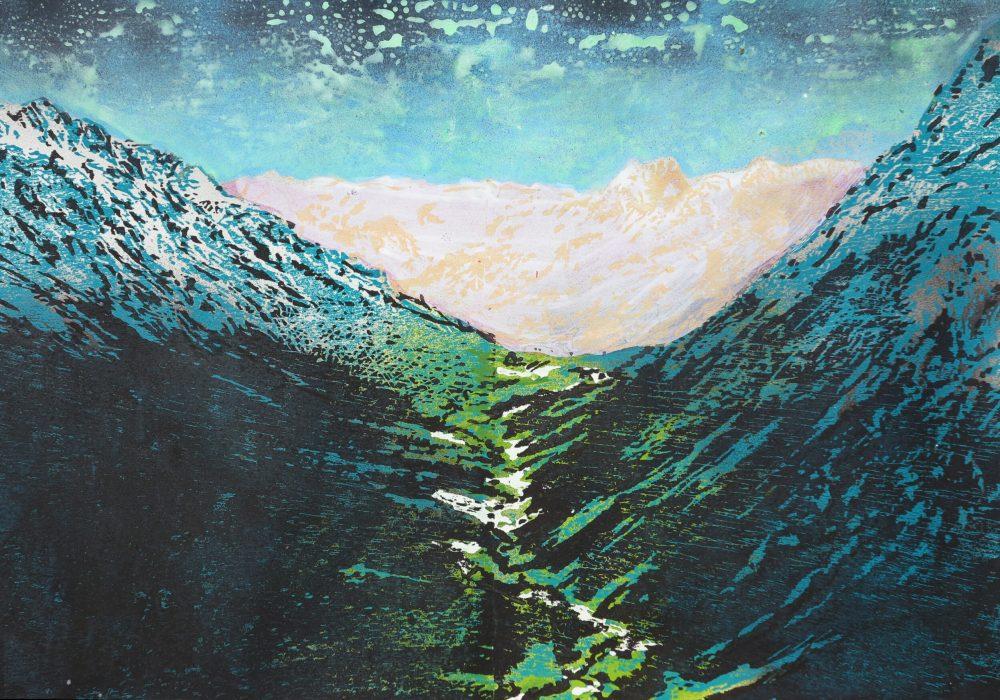 Val Mora,2017, 60 x 42 cm, Holzschnitt und Malerei